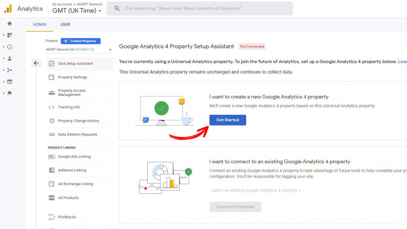 Creating a new Google Analytics 4 property using the GA4 Setup Assistant
