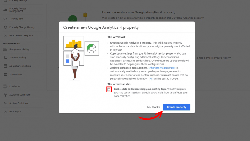 Connecting a new Google Analytics 4 property to a Universal Analytics property using the GA4 Setup Assistant