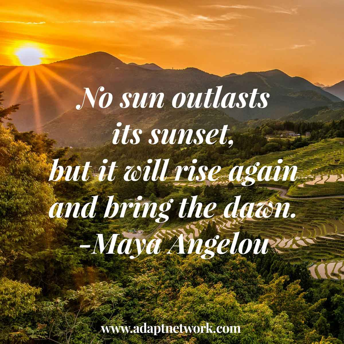 "Maya Angelou Quote People Will For Get: ""No Sun Outlasts Its Sunset, But It Will Rise Again And"