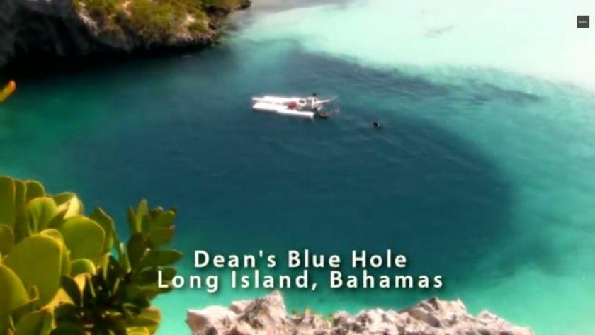 Dean's Blue Hole, Bahamas , where the CNF freedive record was broken. Screenshot from SUUNTO.