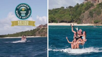 Richard Branson sets Kitesurfing World Record for Most People riding a Kitesurf Board