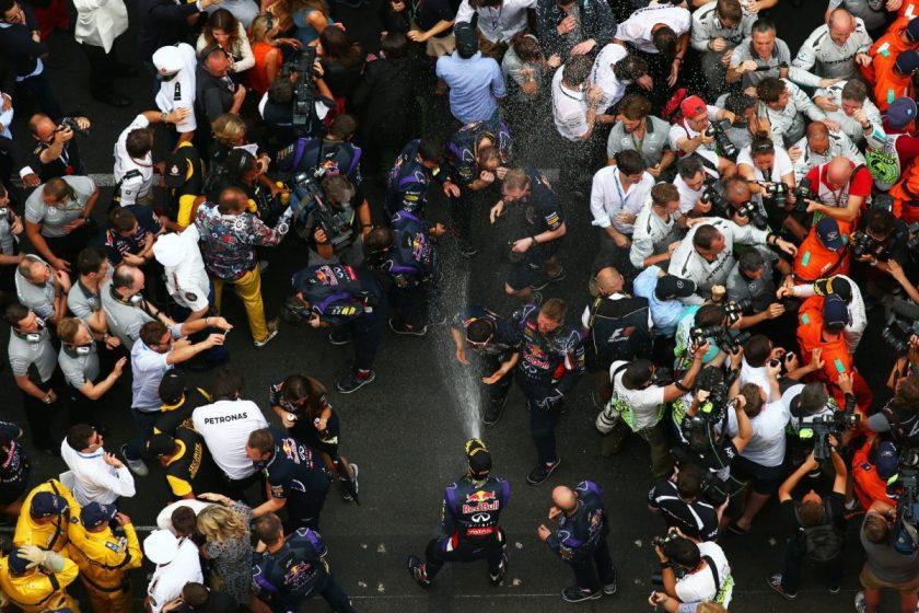 Ricciardo celebrating his third place finish ©Red Bull Content Pool.