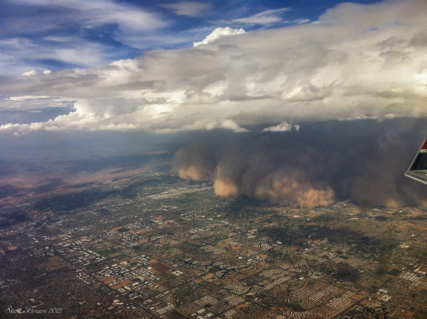 This is another image of the Phoenix haboob, taken from an plane. Photo via Flickr.