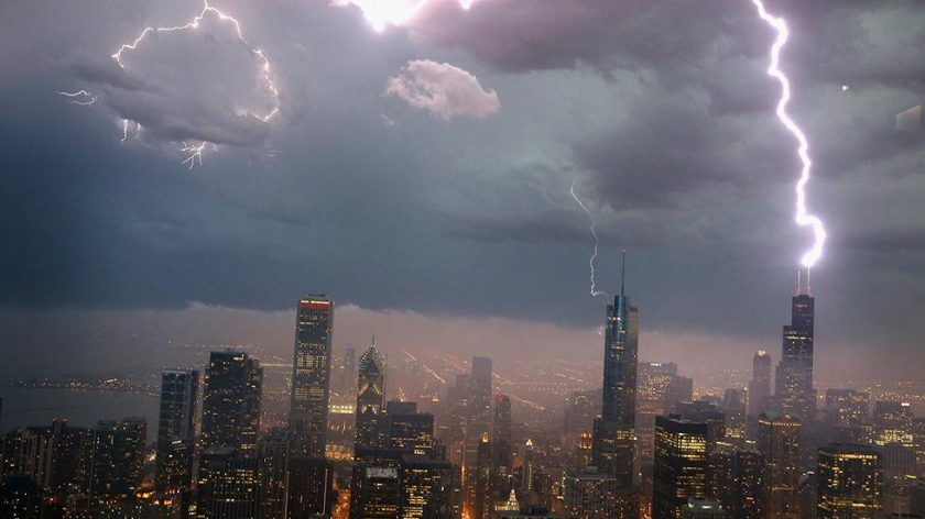 Most skyscrapers are hit by lightning relatively frequently. The Empire State Building (not pictured here, this is the Willis Tower) is hit an average of 25 times a year.