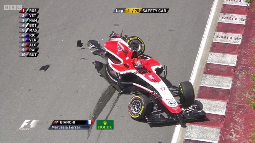 A blow for Marussia. Bianchi's car after the collision.