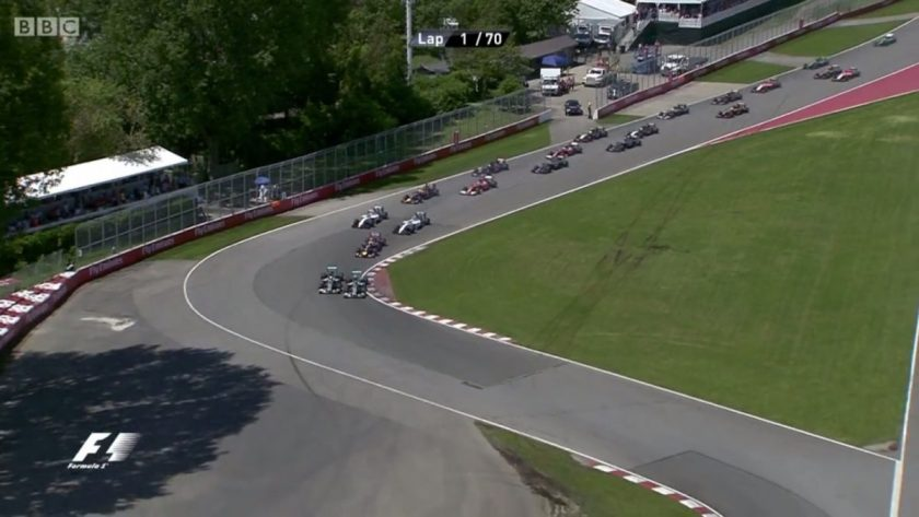 Rosberg holding Hamilton off at the start of the Canadian GP.