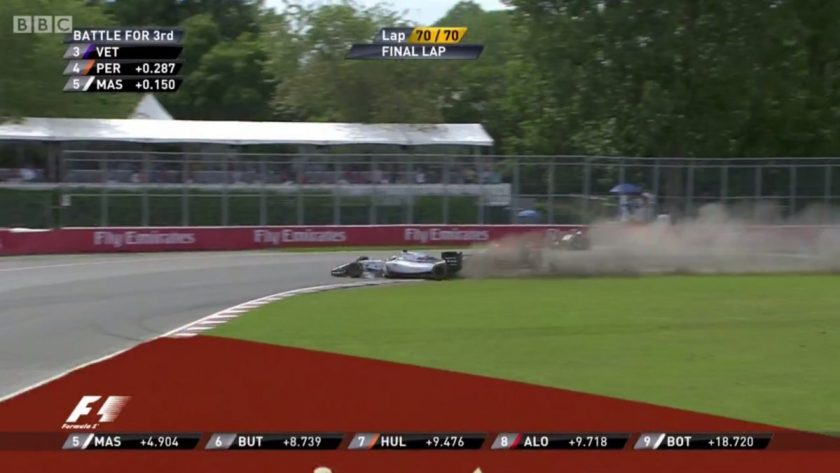 Massa narrowly missing Vettel after a collision with Perez.