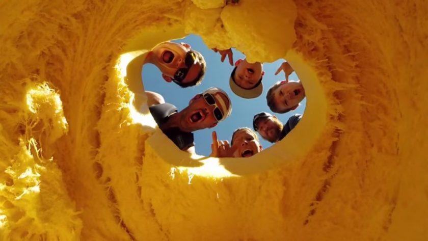 Inside the giant pumpkin kayak. Screen grab from video.