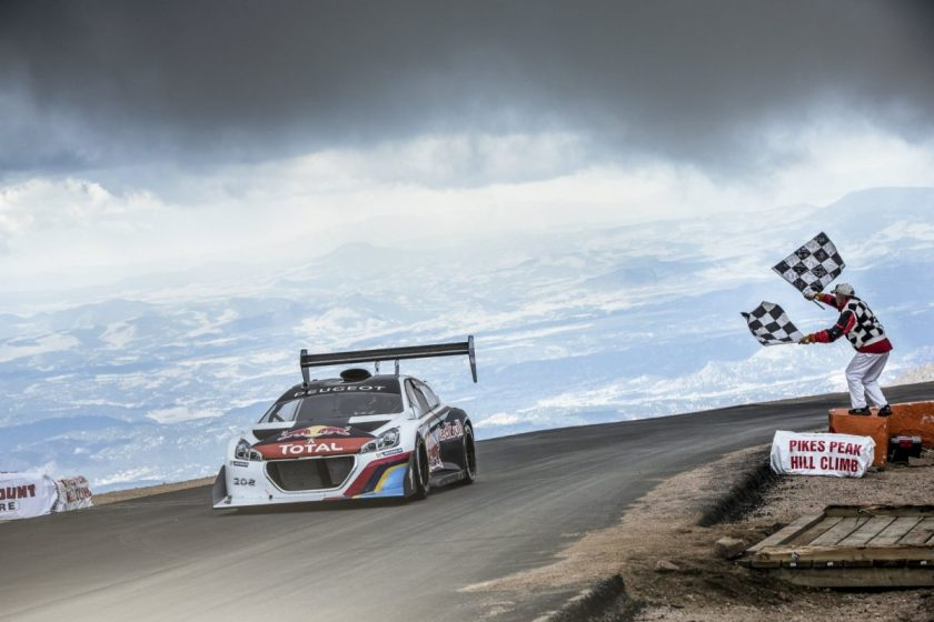 Sébastien Loeb crossing the finish line, 4300 meters high in the Rocky Mountains. Photo: © RedBull Content Pool