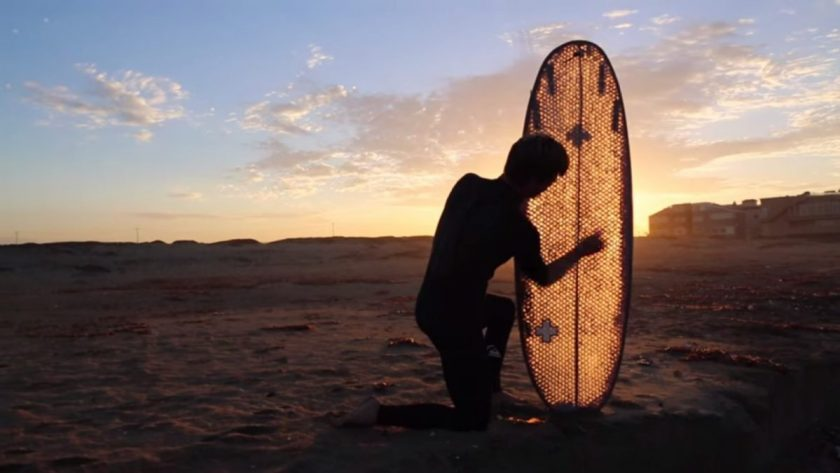 Golden glow - that's one beautiful surfboard. Sceen grab from the video.