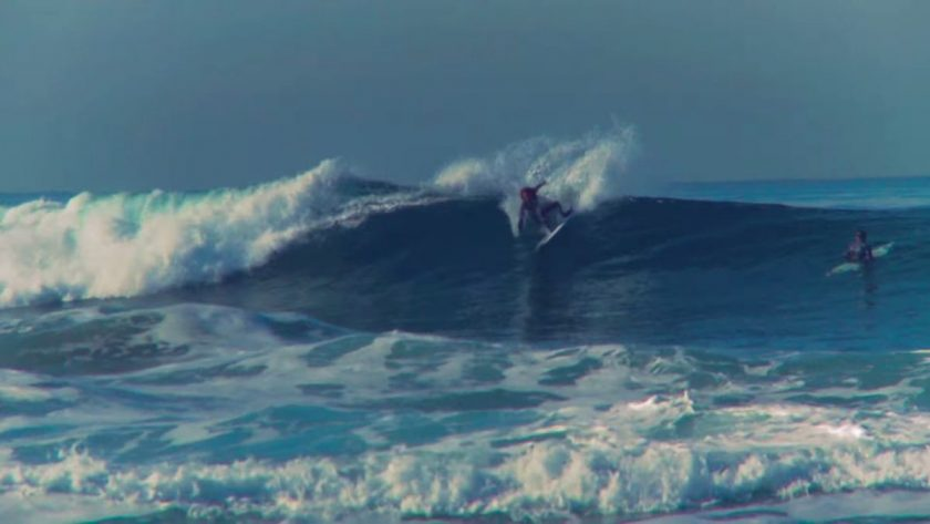 Rob Machado with a fun little carve on the surf snowboard. Photo is a screen grab from the video.