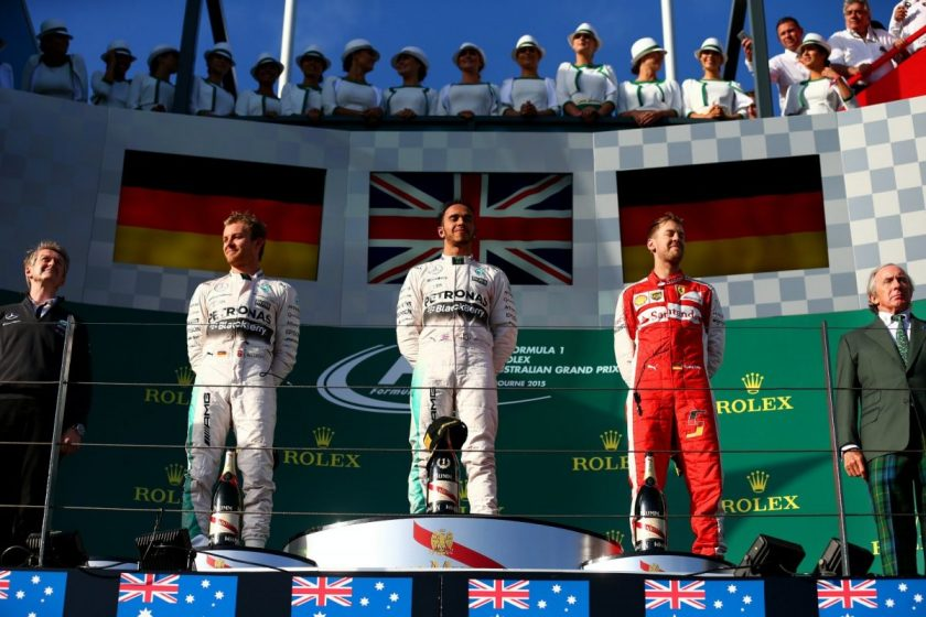 A 1-2 finish for Mercedes and a great start to Vettal's Ferrari career. Photo: Getty Images/Red Bull Content Pool.
