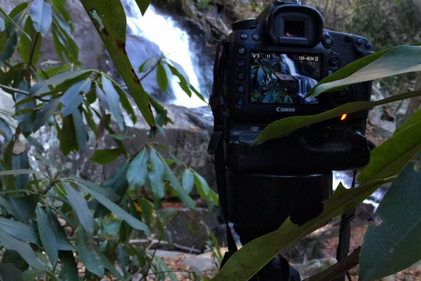 Shooting a waterfall with a Canon 5D Mark III in Smoky Mountain National Park. Photo from MTJP.