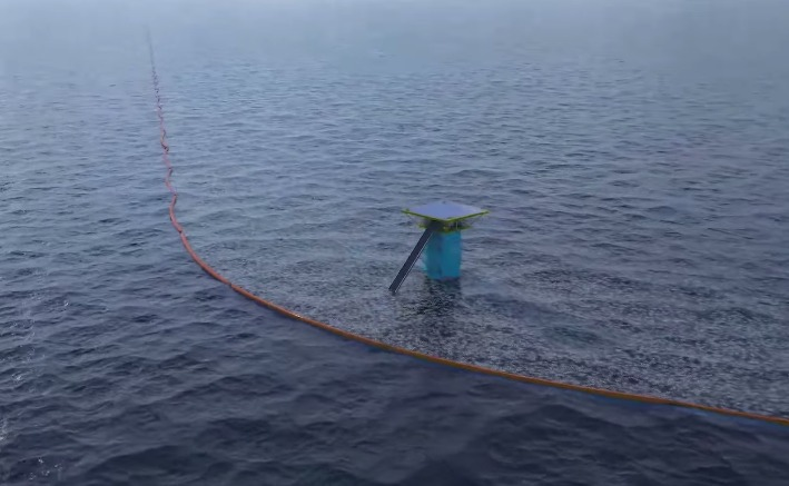 A projection of what this system will look like. Photo: YouTube/TheOceanCleanUp