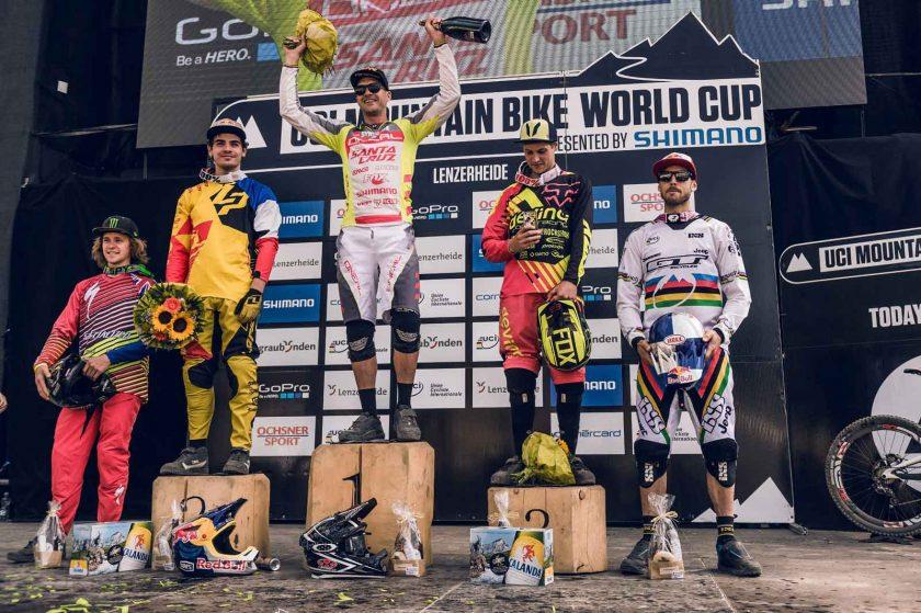 Men's podium: Troy Brosnan, Bruni Loic, Greg Minaar, Lucas Dean, Gee Atherton. Photo: Bartek Wolinski/Red Bull Content Pool.