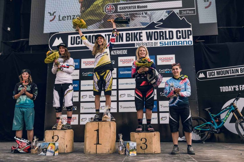 Womens podium: Charre Morgane, Manon Carpenter, Rachel Atherton, Tracey Hannah, Emmeline Ragot. Photo: Bartek Wolinski/Red Bull Content Pool.