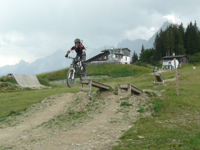 Having fun on a drop-off at the Les Houches BikePark. Photo: ADAPT Network