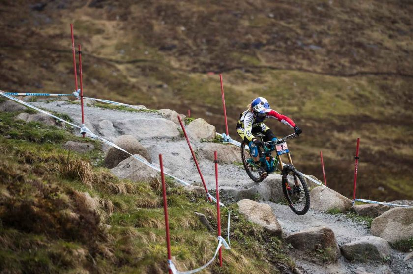 Rachel Atherton blasting her home track—the Fort William 'Off-Beat' Orange (extreme). Photo: Red Bull Content Pool