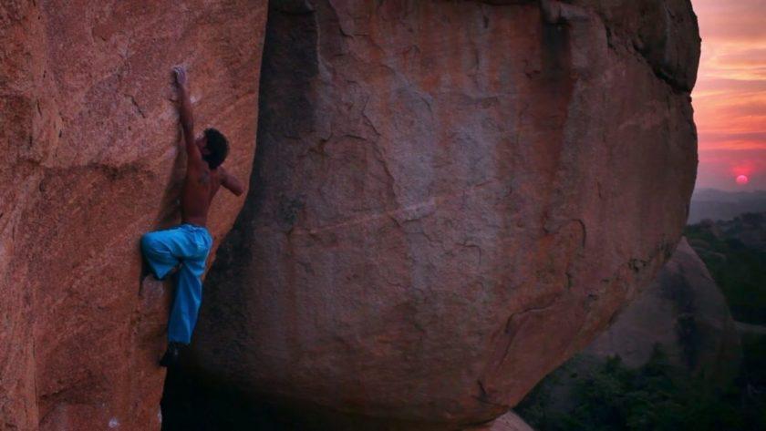 Jerry climbing 'Cosmic Crimp'