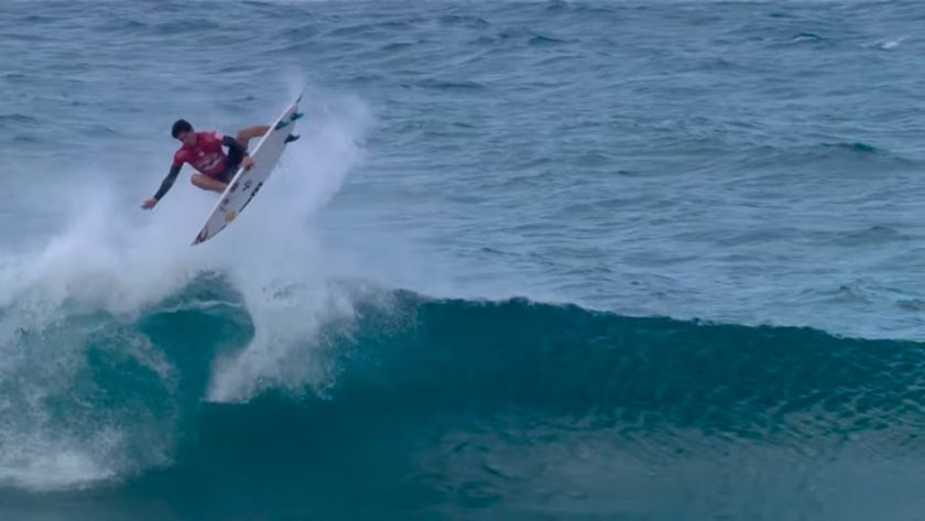 Gabriel Medina pulling a sick air reverse in his match-up against Mick Fanning. Photo: Screenshot from video
