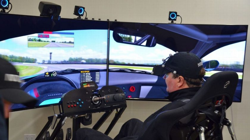 Sam Schmidt sits in the cockpit of a virtual race car made possible by Arrow Electronics, CXC Simulations and iRacing.com. Photo: Courtesy Tim Considine Via ESPN