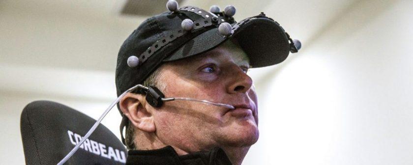 Sam Schmidt controls his virtual race car with head movement and a mouthpiece. Photo: Courtesy of Tim Considine VIa ESPN