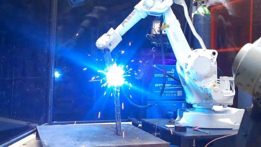 The Arc Bike frame being 3D printed with molten steel. Photo: Screenshot from video.