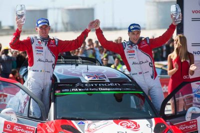 Kris Meeke and Paul Nagle celebrate their win. Photo: Jaanus Ree/Red Bull Content Pool.
