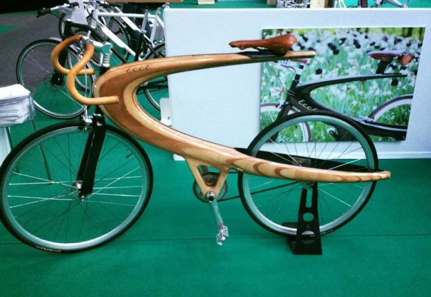 A wooden Opus prototype on display at LikeBike Monte Carlo. Photo: courtesy ECCE Cycles