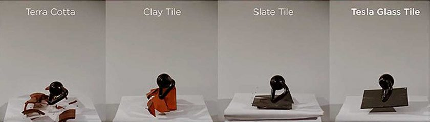 The impact of a kettlebell being dropped onto each different material tile. Photo: Tesla