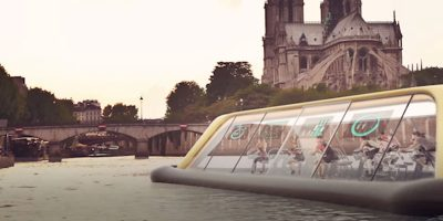 Parisians could soon be peddling down the Seine, in this futuristic gym