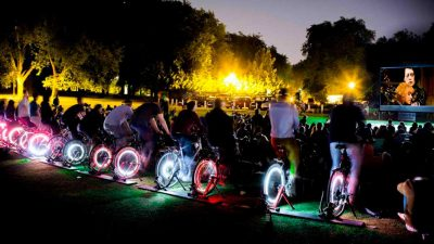 Cinema goers can now power their own screening on specially adapted bikes