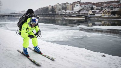 Filip Flisar blasts through town with a jetpack on skis [Video]