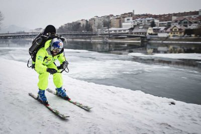 Video: Filip Flisar blasts through town with a jetpack on skis