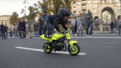 This 4 year old can already do wheelies on a motorcycle