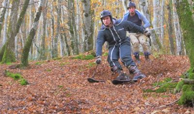 Insane video shows that you don't need snow to ski, just a whole lot of leaves!
