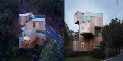 China's rural treehouse hotel is like a giant Jenga tower