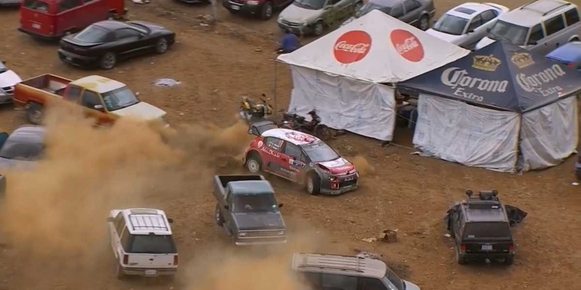 Rally Driver takes 'diversion' through car park and still wins