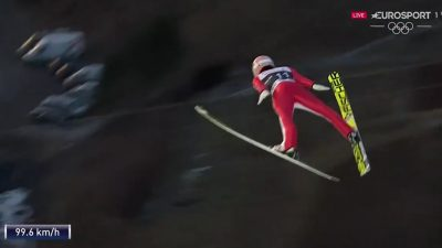 23 year old ski jumper clears the entire jump in new world record