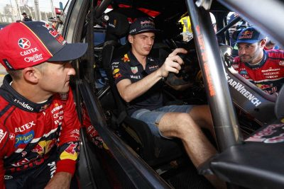 Supercars star teaches F1 driver Max Verstappen how to 'heel-and-toe'