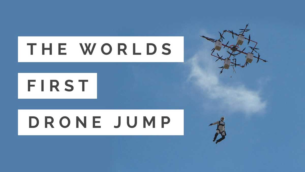 Watch the world's first drone jump – skydiver jumps from a drone