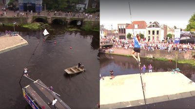 The Netherlands takes pole vaulting to whole new level in crazy national sport