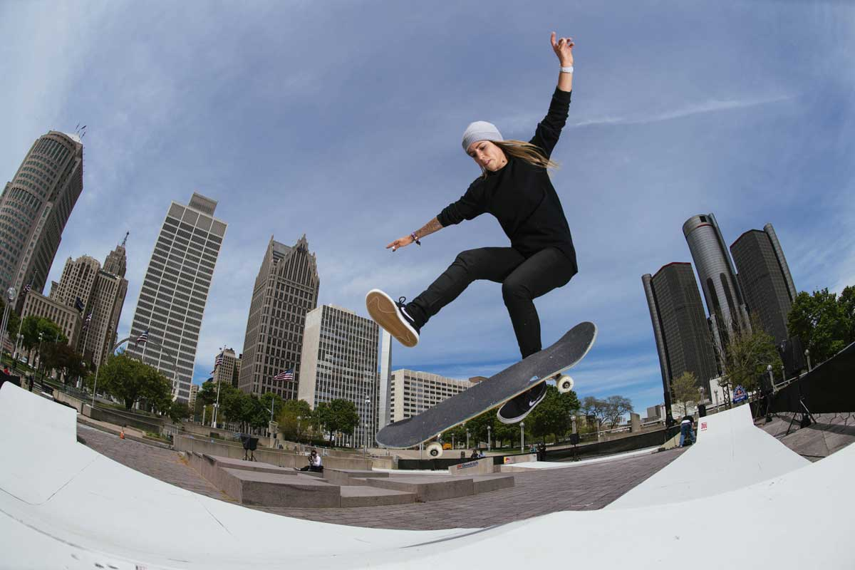 Skateboarding history made as Leticia Bufoni becomes first woman to compete at Red Bull Hart Lines