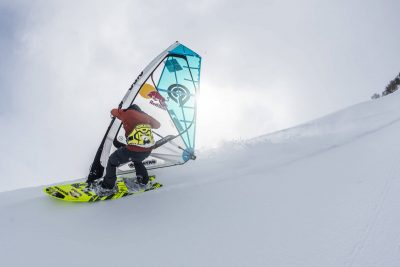 Pro windsurfer Levi Siver becomes first person to windsurf down a mountain