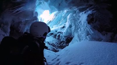 The astonishing moment a skier suddenly plunges 60ft down a hidden crevasse