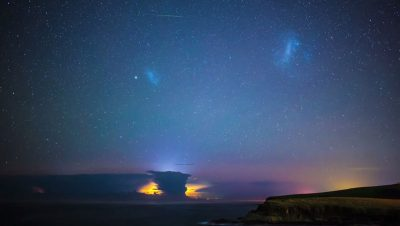 Astrophotographer captures rare space lightning, a meteor shower and the Aurora Australis in one night