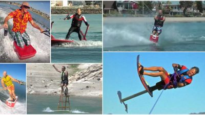 This water skier uses an ice chest, picnic table and ladder instead of normal water skis