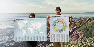 This map and infographic tells you the best places and times to surf around the world