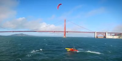This high-speed boat is powered by a giant kite