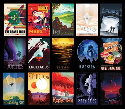 These retro sci-fi posters from NASA show us what adventure space travel of the future could be like